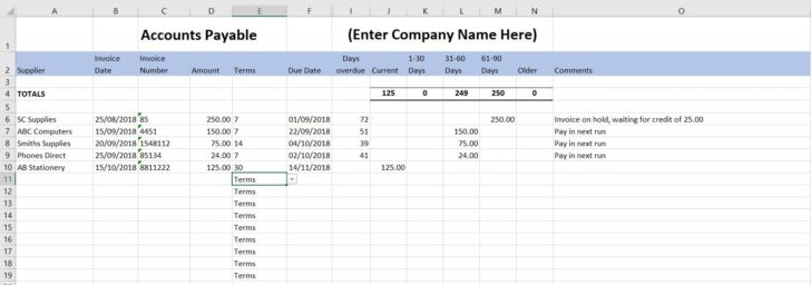 Medium Size of Accounts Payable Template Free End Of Year Household Budget Spreadsheet Excel For Column