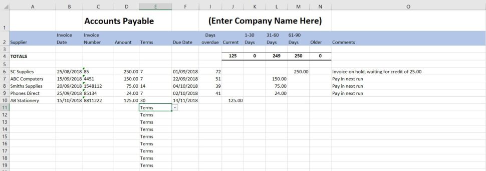 Large Size of Accounts Payable Template Free End Of Year Household Budget Spreadsheet Excel For Column