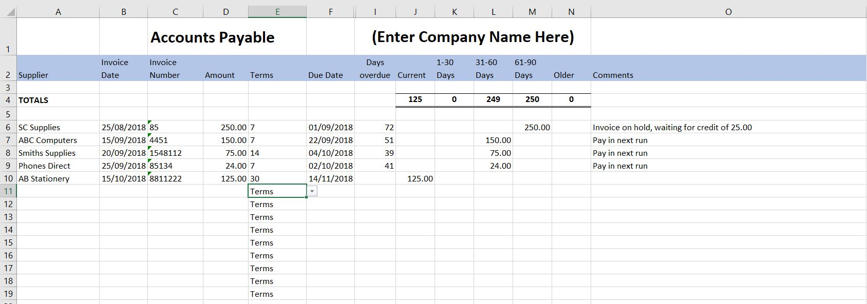 Full Size of Accounts Payable Template Free End Of Year Household Budget Spreadsheet Excel For Column