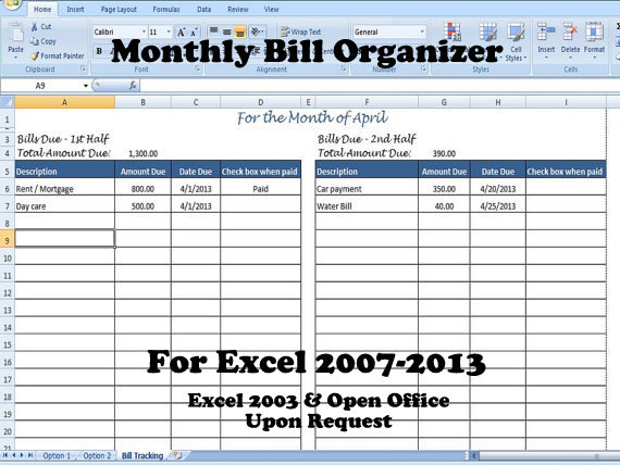 Bill Organizer Template Excel Payments Into 1st 2nd Half Of The Month Spreadsheet For Bills