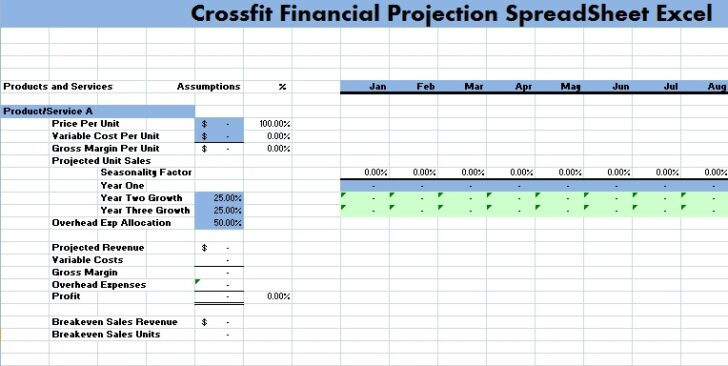Crossfit Financial Projection Spreadsheet Excel Microsoft Templates Management Wedding