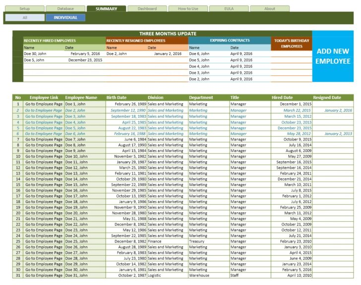 Employee Database Excel Template The Spreadsheet Individual Printing Worksheet From