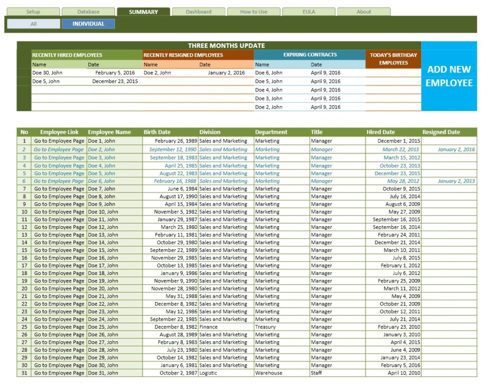 Large Size of Employee Database Excel Template The Spreadsheet Individual Printing Worksheet From