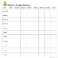 Monthly Budget Planner Spreadsheet Template