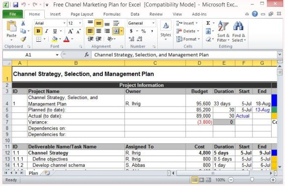 Free Channel Marketing Plan Template For Excel 580x379 Business Cards Templates Revenue Spreadsheet Sales Xls