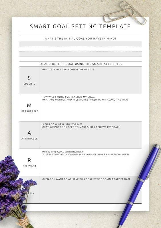 Full Size of Free Smart Goals Templates To Edit And Print Google Docs Goal Setting Template Themed Spreadsheet
