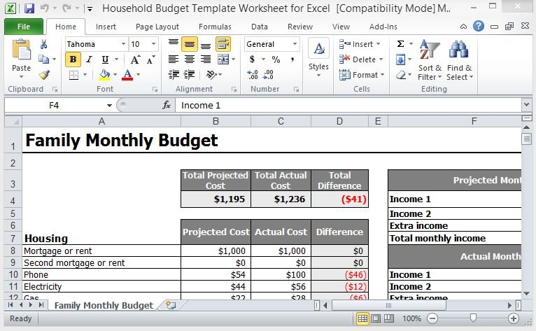 Full Size of Household Budget Template Worksheet For Excel Monthly Expenses Free Your Family Cash Flow Spreadsheet