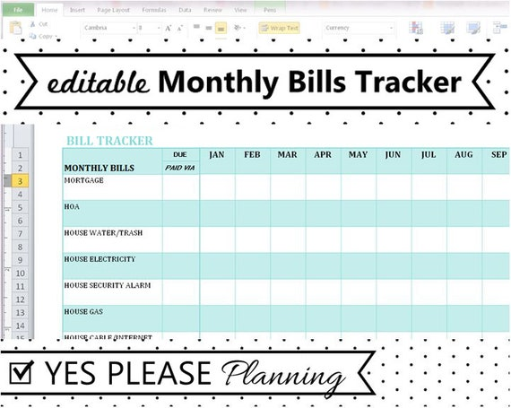 Full Size of Monthly Bill Tracker Expense And Payment Etsy Spreadsheet For Bills Il 570xn 52po Cost Of