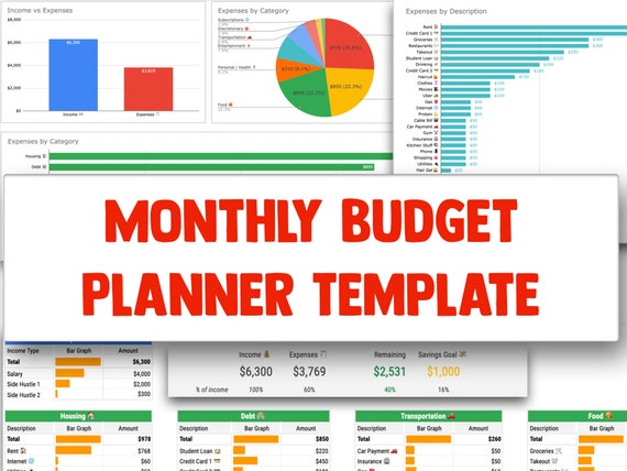 Full Size of Monthly Budget Planner Spreadsheet Template For Google Sheets Etsy Docs Il 570xn 9wcd
