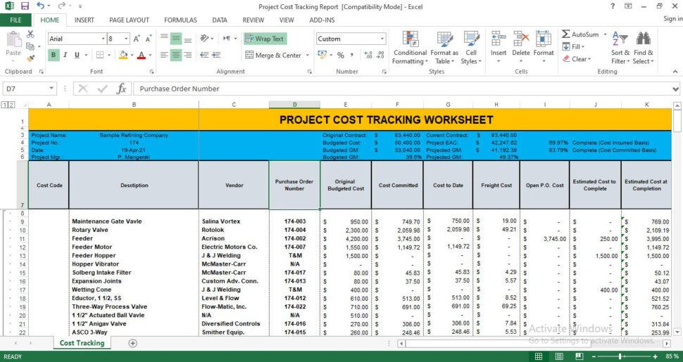 Large Size of Project Cost Tracking Template Excel Free Spreadsheet Restaurant Tip Share Business