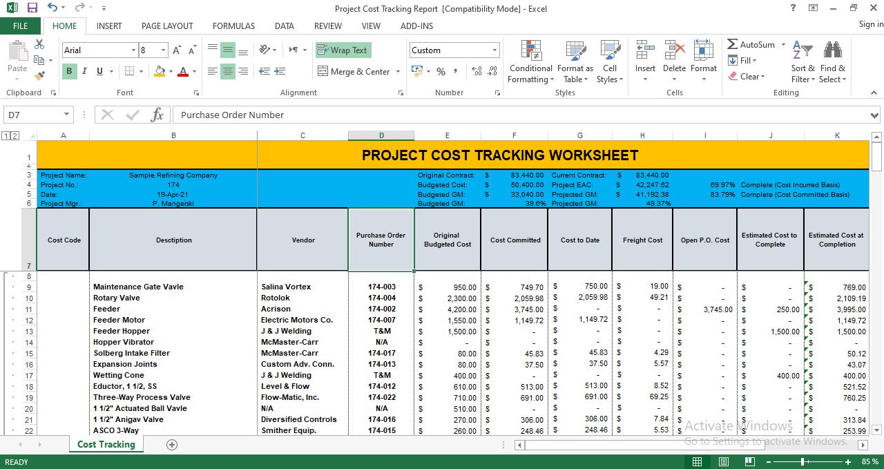 Full Size of Project Cost Tracking Template Excel Free Spreadsheet Restaurant Tip Share Business