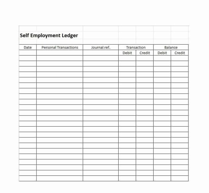 Self Employment Income Statement Template New Ledger Free Templates Examples Balance Spreadsheet