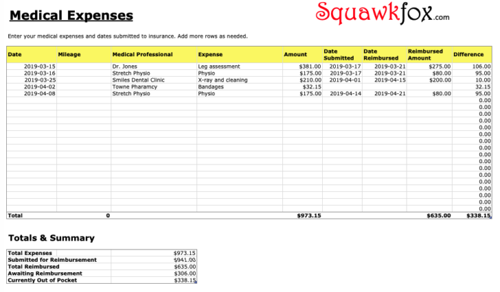 Square Business Card Template Vertical 1 Page Plan Expenses Spreadsheet