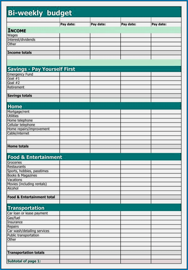 Template Free Printable Business Forms Templates Sample Plan Bi Weekly Budget