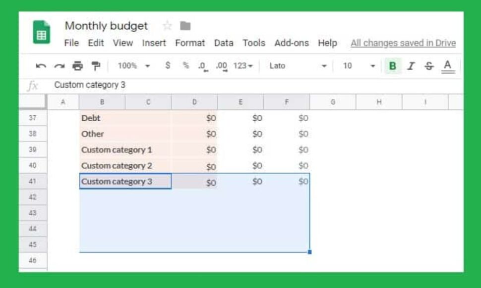 Large Size of To Custom Categories The Google Sheets Monthly Budget Template Michael Saves Docs Planner Spreadsheet