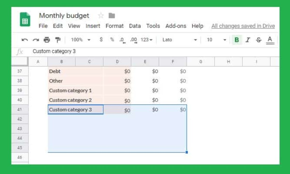 Full Size of To Custom Categories The Google Sheets Monthly Budget Template Michael Saves Docs Planner Spreadsheet