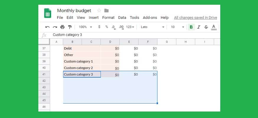 Full Size of To Custom Categories The Google Sheets Monthly Budget Template Michael Saves Spreadsheet