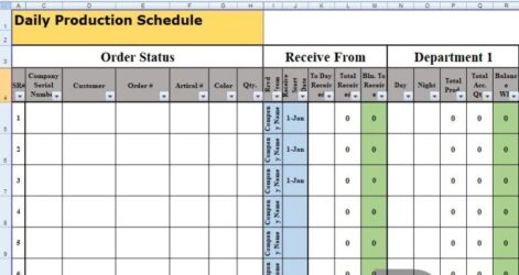 Daily Production Schedule Template Excel Templates Spreadsheet Planning Report Format