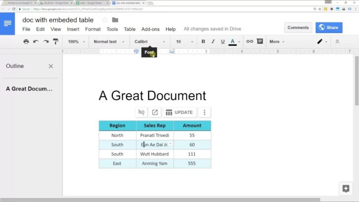 Embed Spreadsheet From Google Sheets Into Docs In Drive Business Agreement Templates