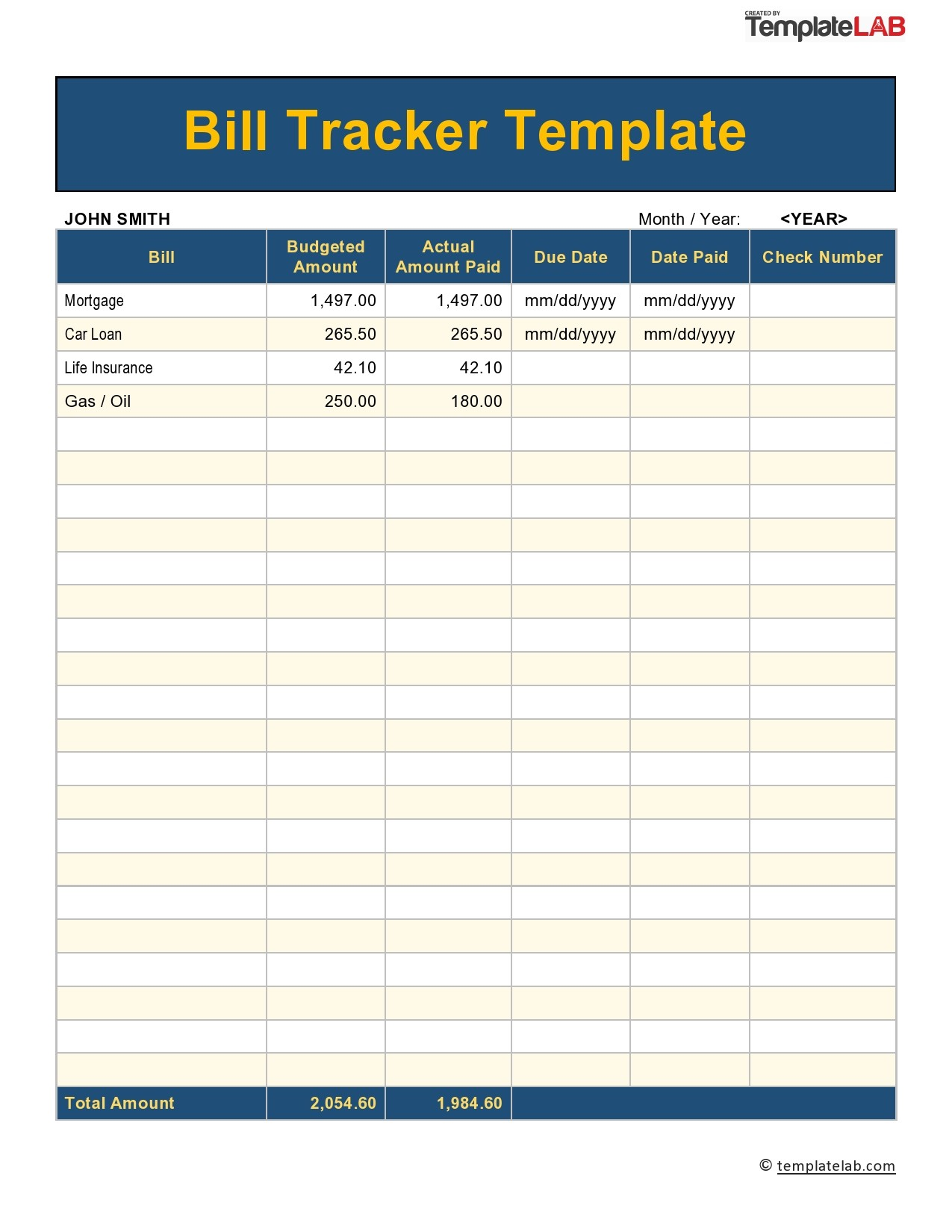 Full Size of Free Bill Pay Checklists Calendars Pdf Word Excel Payment Tracker Spreadsheet Template