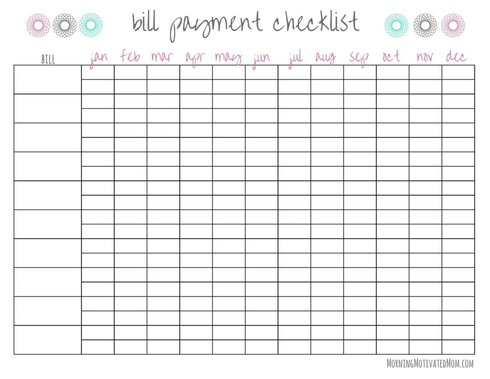 Large Size of Free Bill Pay Checklists Calendars Pdf Word Excel Tracker Spreadsheet Checklist Template