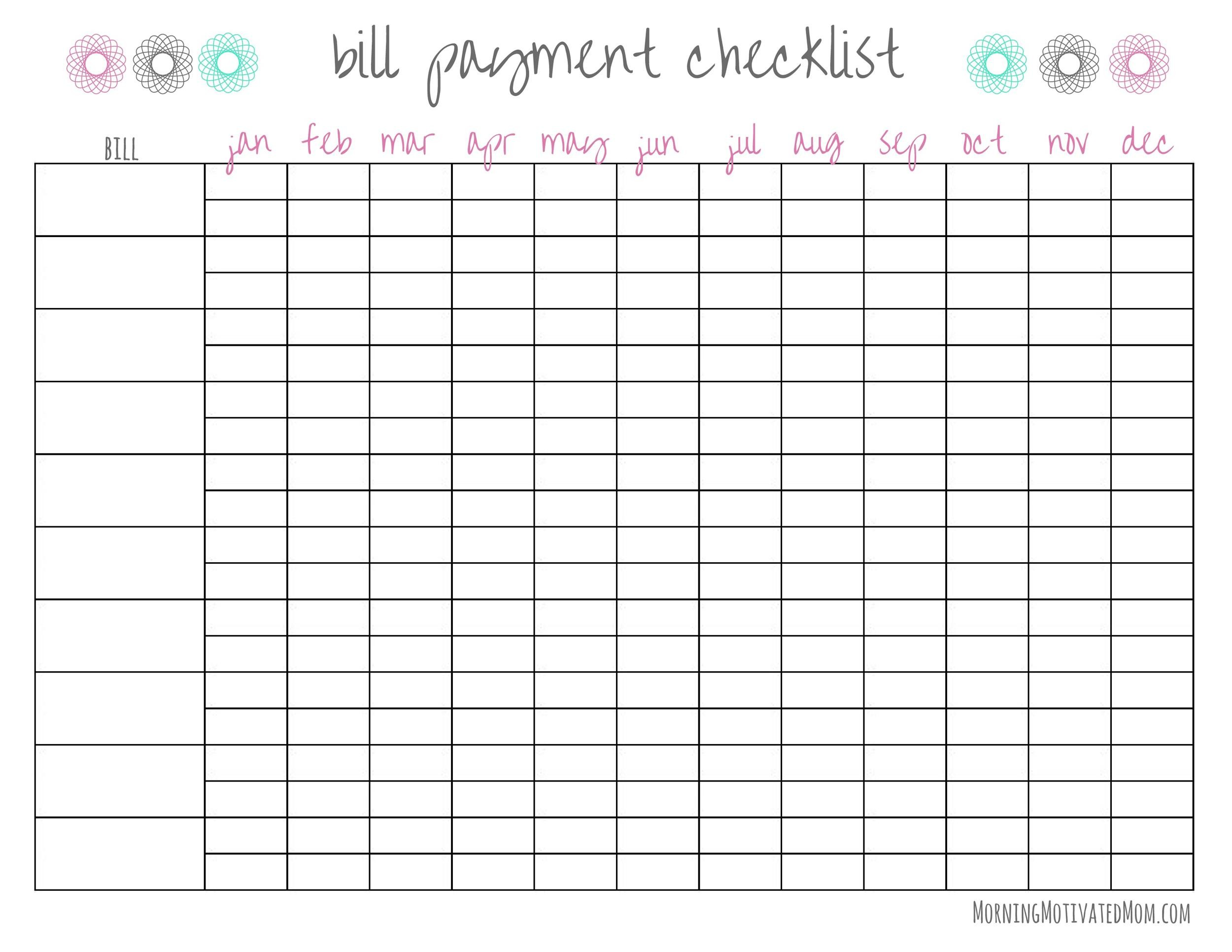 Full Size of Free Bill Pay Checklists Calendars Pdf Word Excel Tracker Spreadsheet Checklist Template