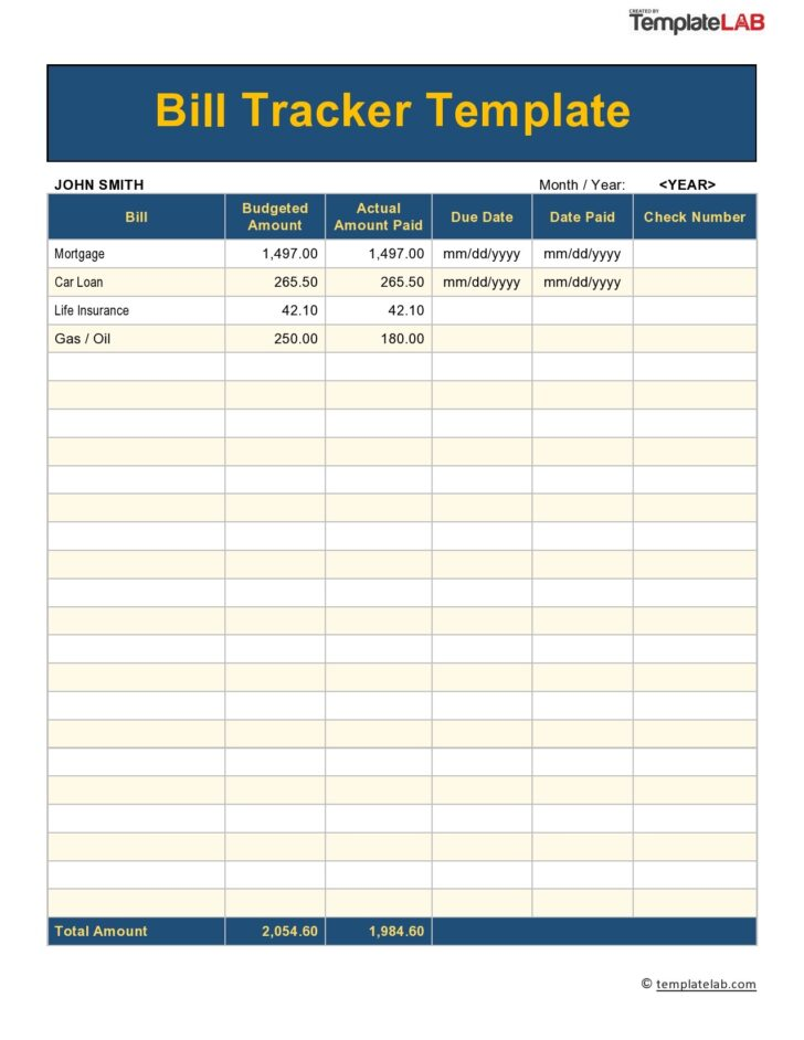 Medium Size of Free Bill Pay Checklists Calendars Pdf Word Excel Tracker Spreadsheet Template