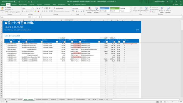 Medium Size of Free Bookkeeping Template Easy To Understand And Very Simple Use Templates For Self Spreadsheet Employed