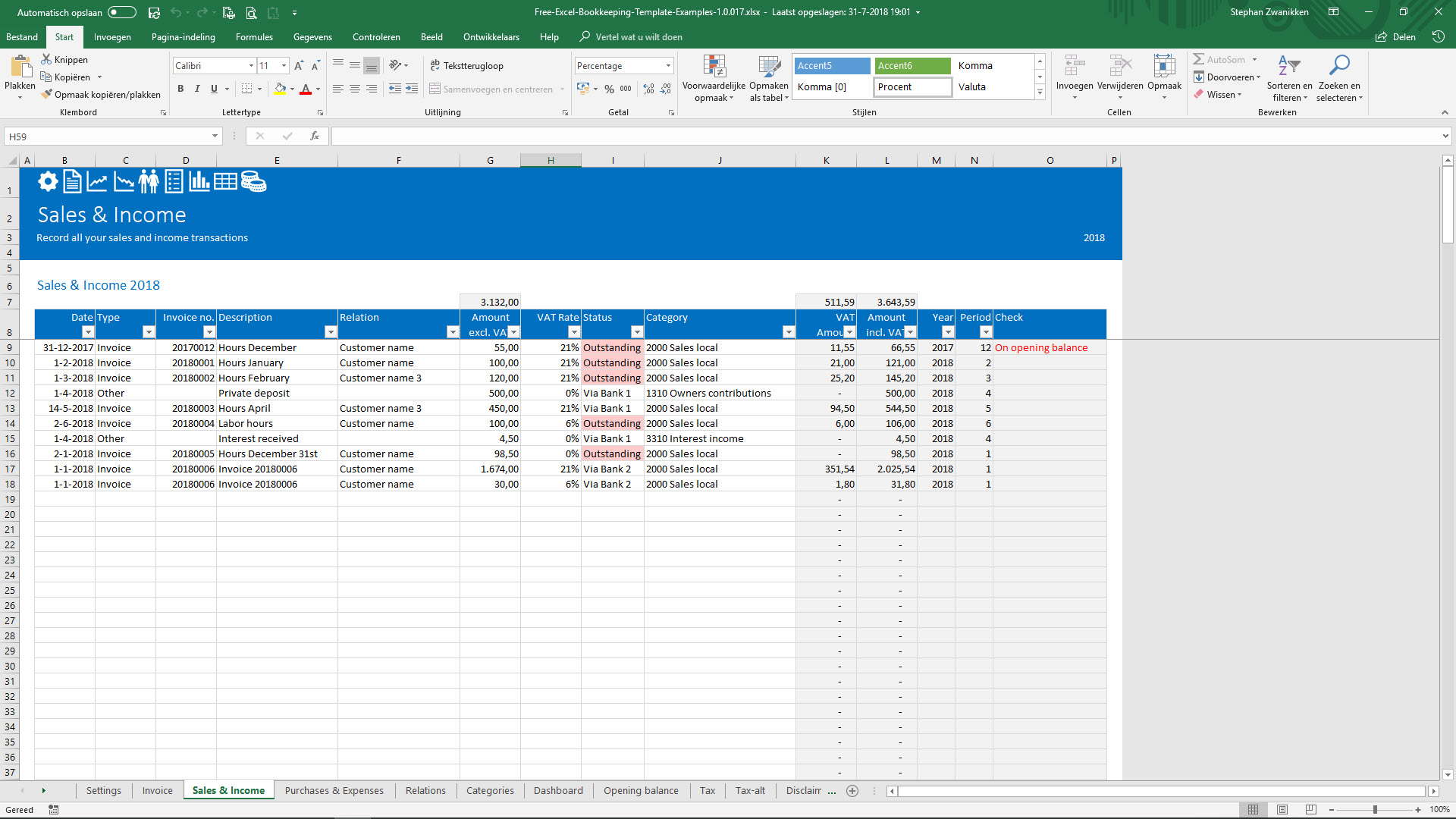 Full Size of Free Bookkeeping Template Easy To Understand And Very Simple Use Templates For Self Spreadsheet Employed