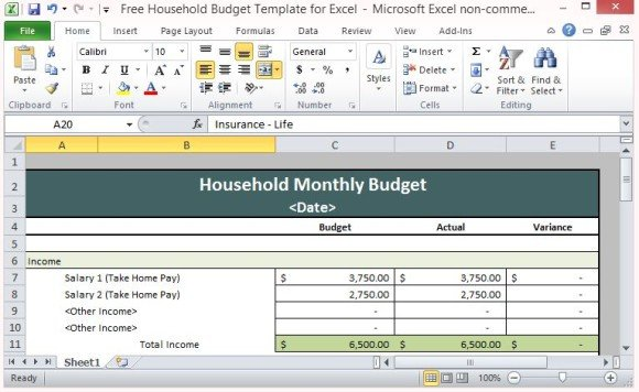 Full Size of Free Household Budget Template For Excel Home Spreadsheet Every 580x356 Contract