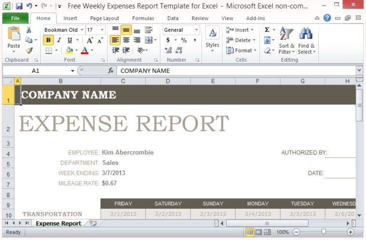 Medium Size of Free Weekly Expenses Report Template For Excel Spreadsheet Personal Household And Company