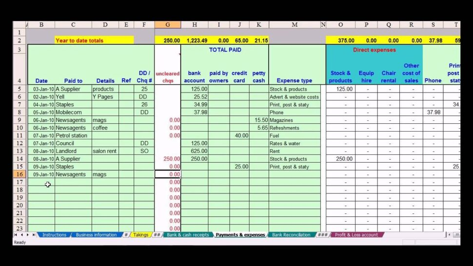 Large Size of Hairdresser Bookkeeping Spreadsheet Templates Small Business Template For Self Employed