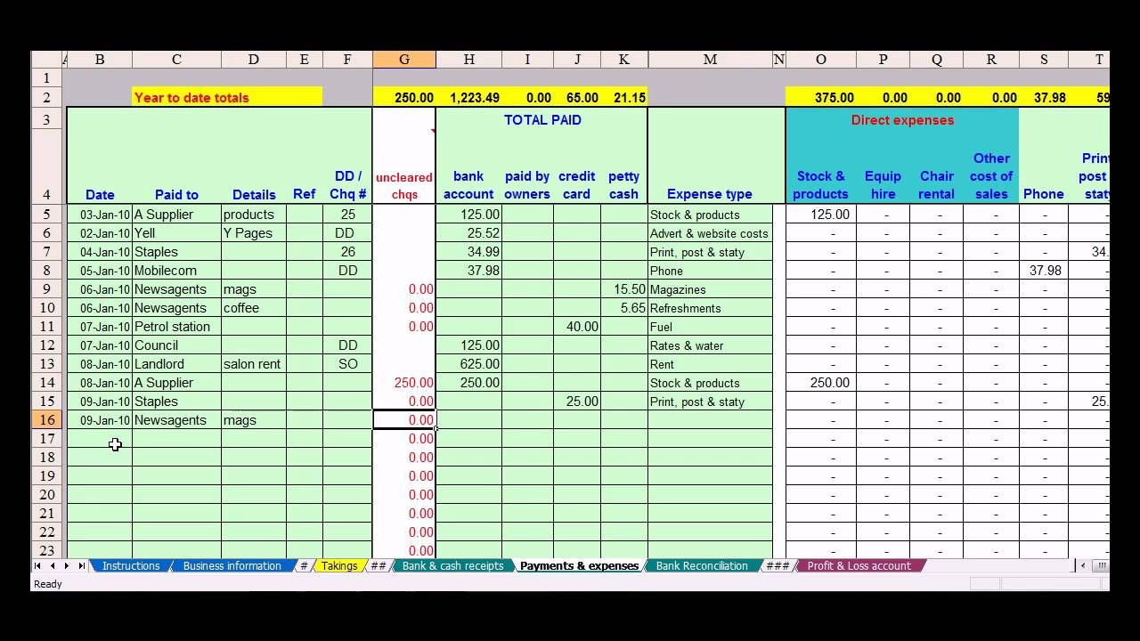Full Size of Hairdresser Bookkeeping Spreadsheet Templates Small Business Template For Self Employed