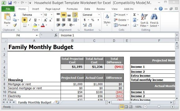 Full Size of Household Budget Template Worksheet For Excel Home Free Monthly Your Family 580x358 Spreadsheet