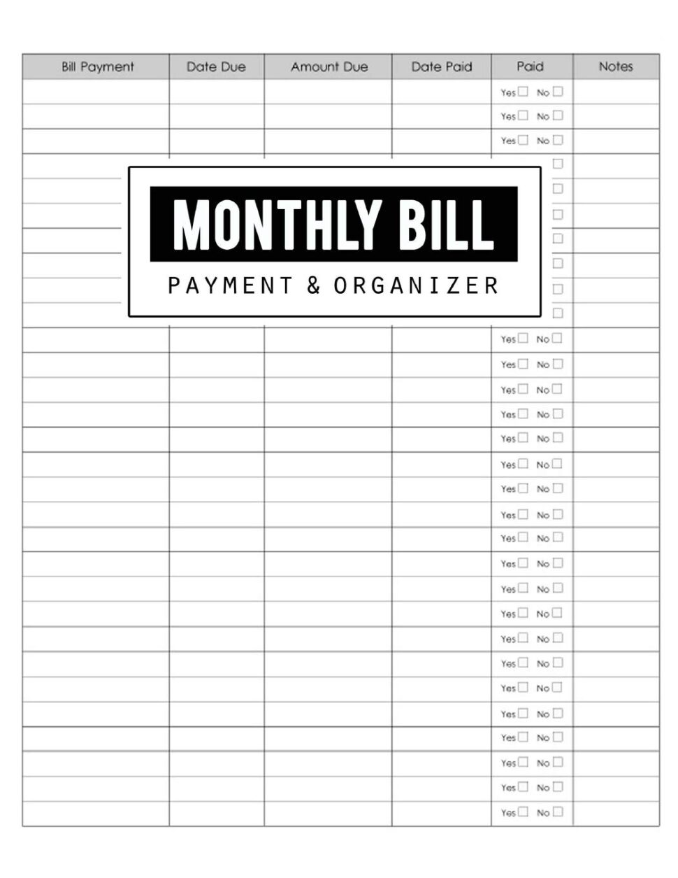 Large Size of Monthly Bill Payment Organizer Money Debt Tracker Simple Home Budget Spreadsheet Planner