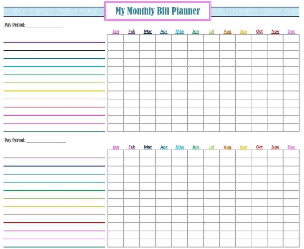 Large Size of Monthly Bill Template Free Printable Tracker Planner Organization Printables Organizing Spreadsheet