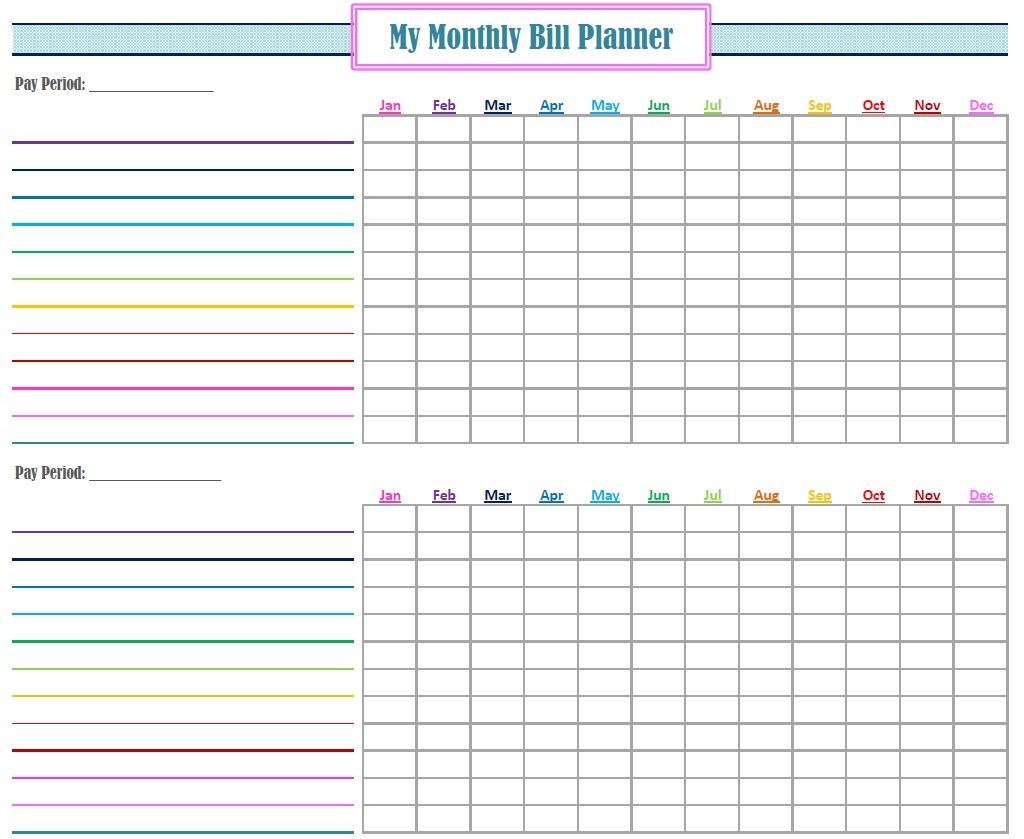 Full Size of Monthly Bill Template Free Printable Tracker Planner Organization Printables Organizing Spreadsheet