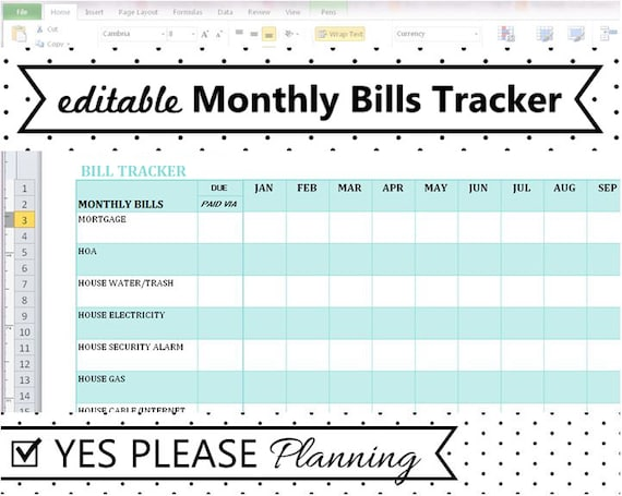 Full Size of Monthly Bill Tracker Expense And Payment Etsy Free Spreadsheet Il 570xn 52po Report Excel