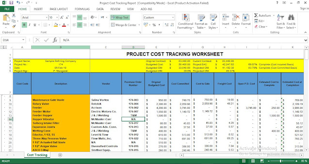 Project Cost Tracking Excel Template Expense Ampad Business Card Templates Google Sheets Spreadsheet