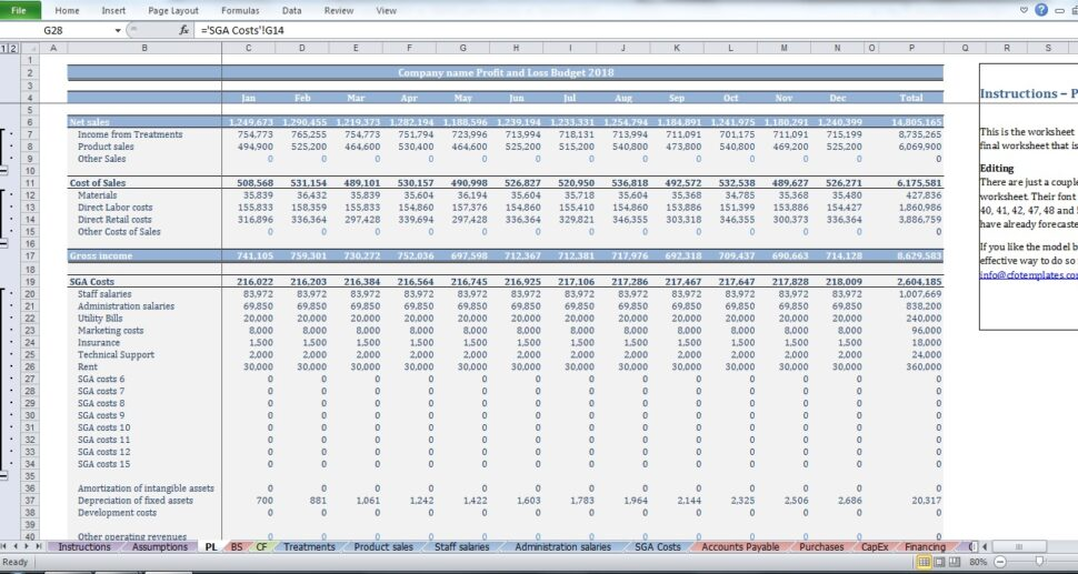 Large Size of Spa Budget Template Creator Pnl Construction Cost Estimate Spreadsheet Microsoft Excel