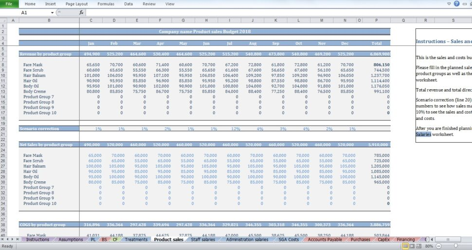 Large Size of Spa Budget Template Creator Products Production Excel Free Monthly Financial Report Spreadsheet