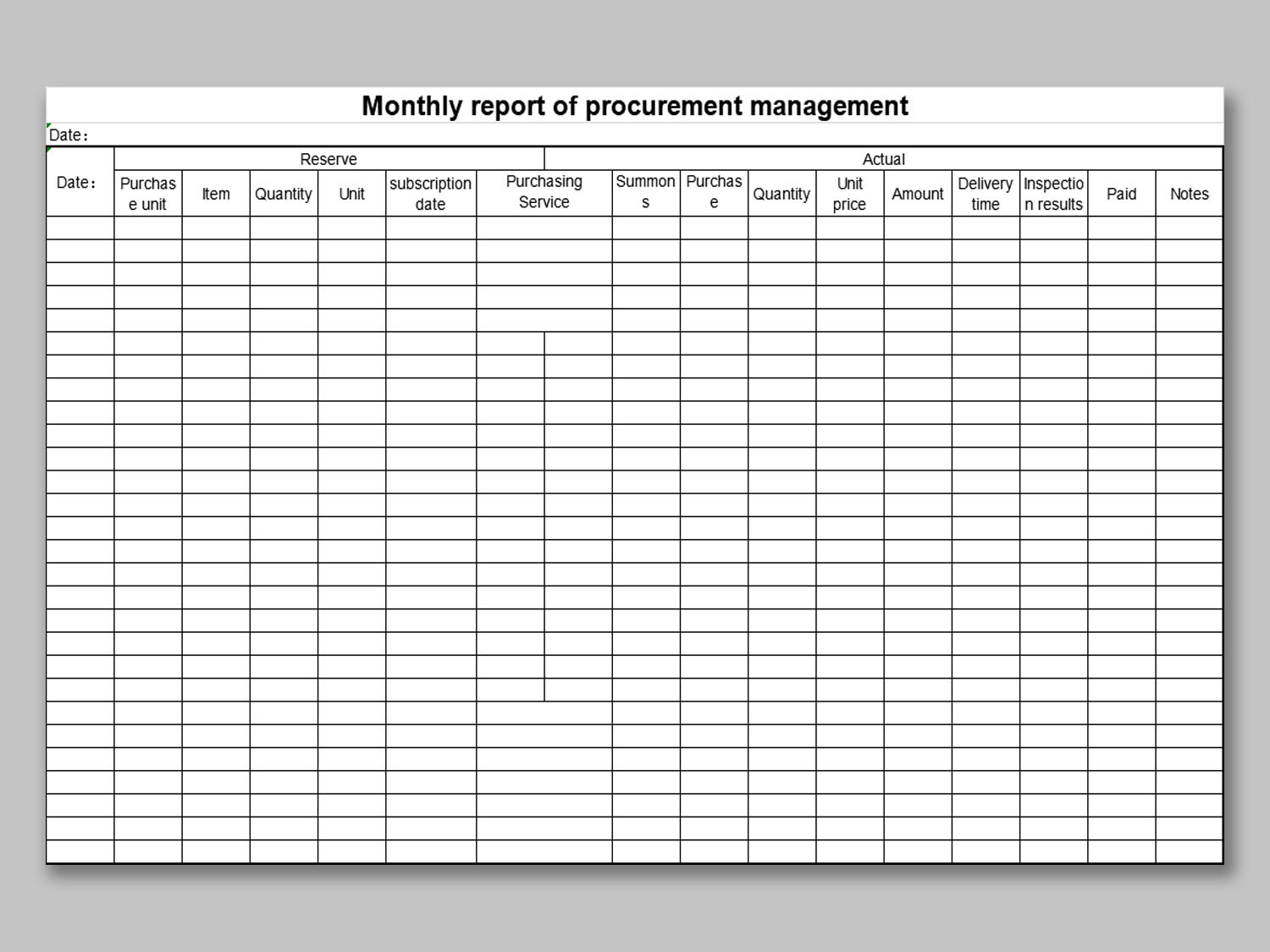 Full Size of Template Free Writer Presentation Spreadsheet Templates Monthly Purchase Report Format In Excel