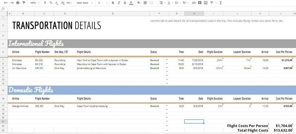 Full Size of The Ultimate Travel And Vacation Itinerary Planning Spreadsheet Johnny Africa Excel Route Planner Template