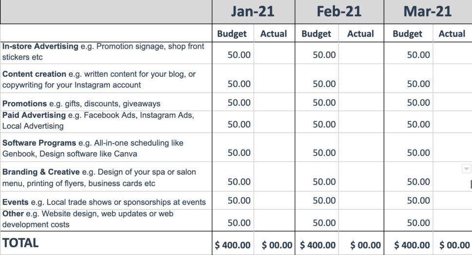 Large Size of To Create Marketing Budget Refresher For Your Spa Salon Or Barbershop Template Sample Spreadsheet