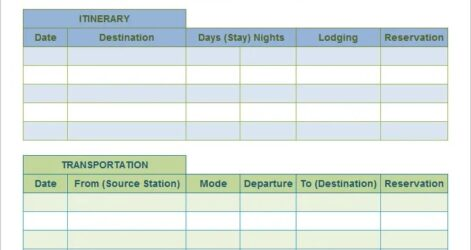 Travel Plan Templates Bicim Excel Route Planner Template Family Holiday Itinerary Monthly Spreadsheet