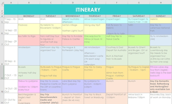 Full Size of Travel Planning Excel Spreadsheets Itinerary Monthly Organizer Etsy Route Planner Spreadsheet Template