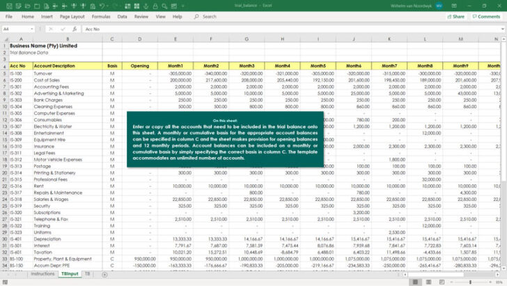 Trial Balance Template Excel Skills Format Free Sample Auto Detailing Business Cards Spreadsheet Download